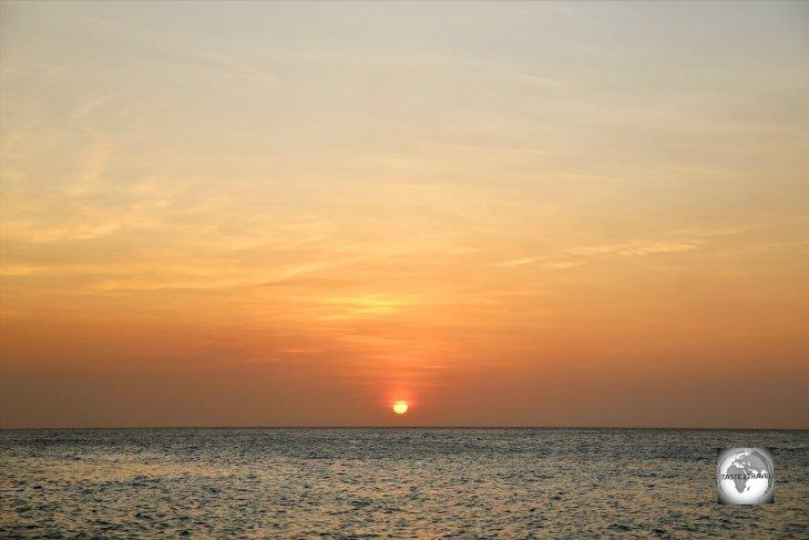 Sunset at Jan Thiel beach Curaçao.