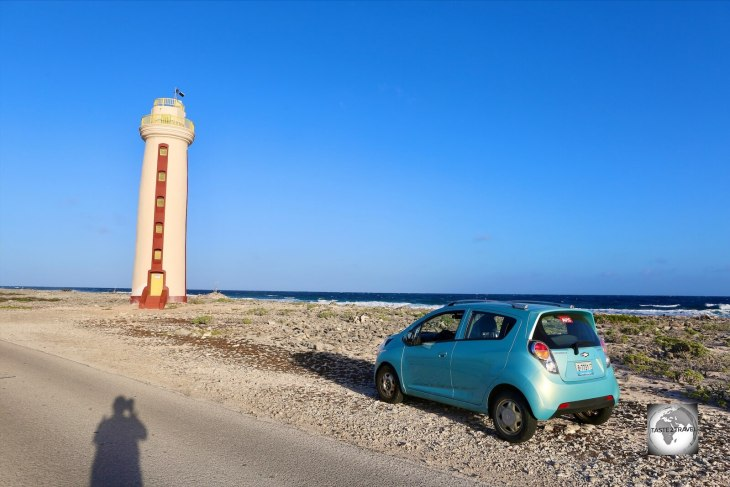 Exploring the south coast of tiny Bonaire, including Willemstoren Lighthouse, in my rental car.