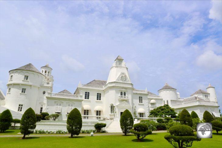 Trident Castle, Baroness Thyssen's 1980's folly, overlooks the north coast of Jamaica at Port Antonio.