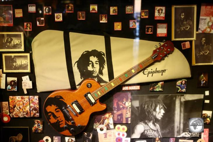 A display at the Bob Marley museum at Nine Mile.