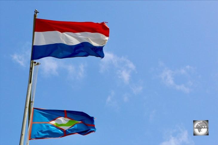 The flag of Statia flying alongside the Dutch flag.