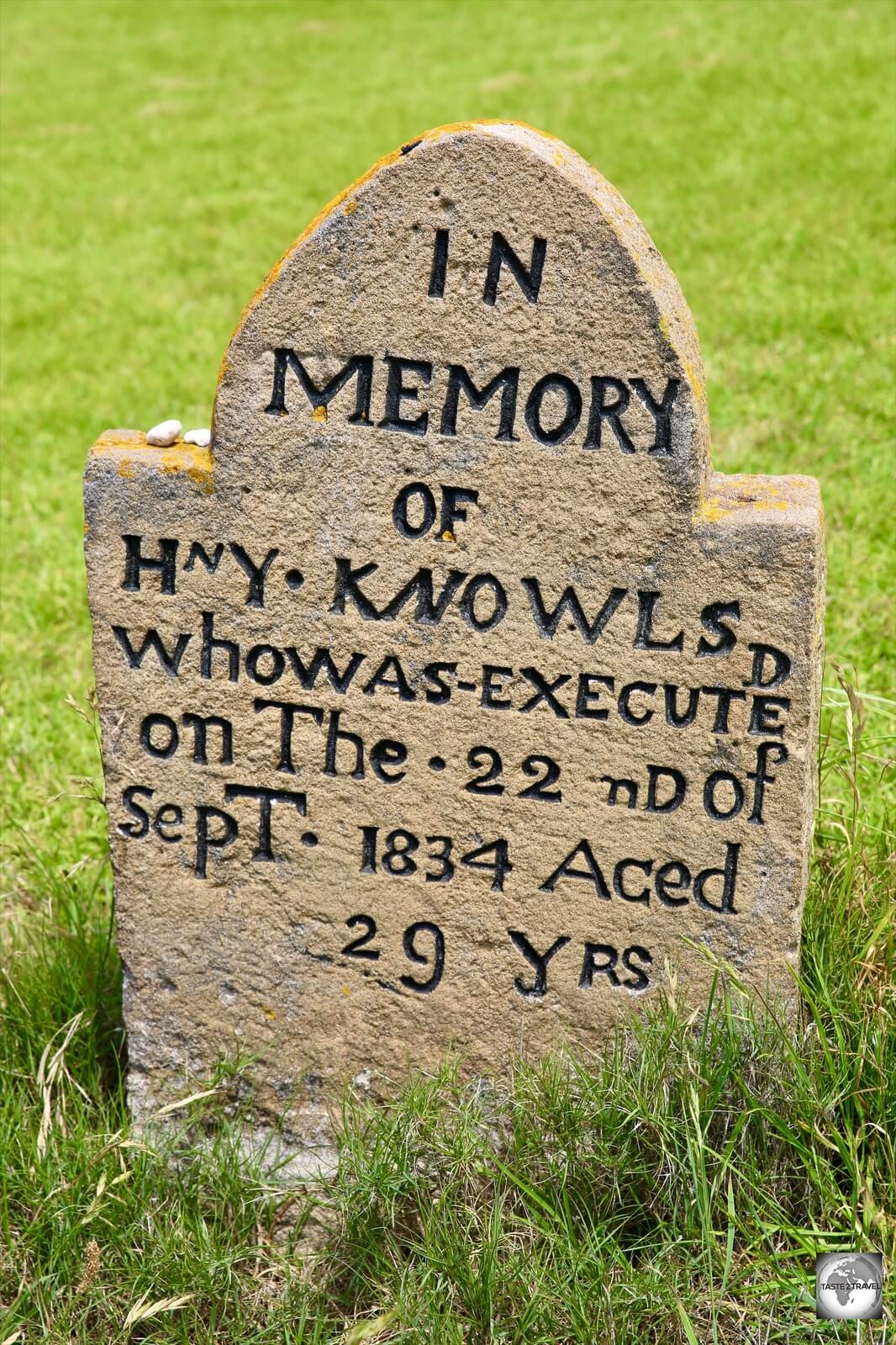 A gravestone of an executed convict at the Kingston cemetery.