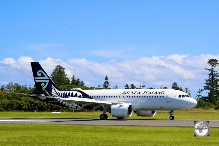 An Air NZ flight arriving at Norfolk Island airport.