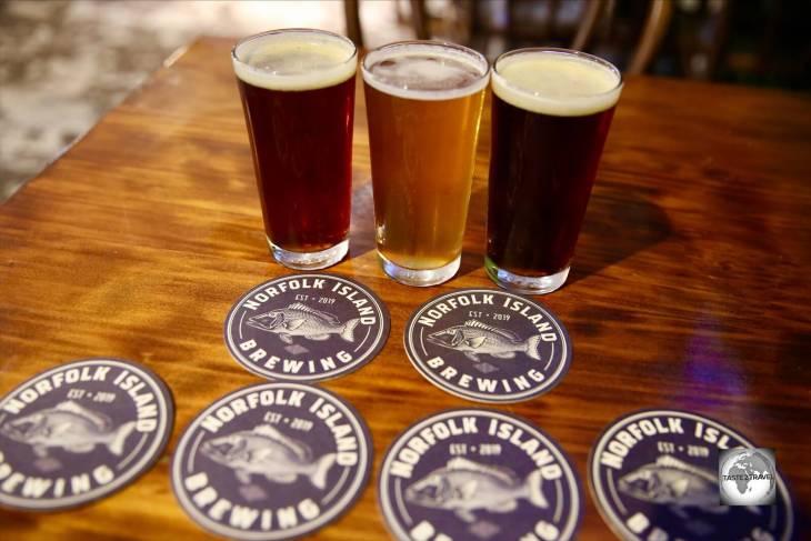 Beer tasting at the Norfolk Island Brewery.