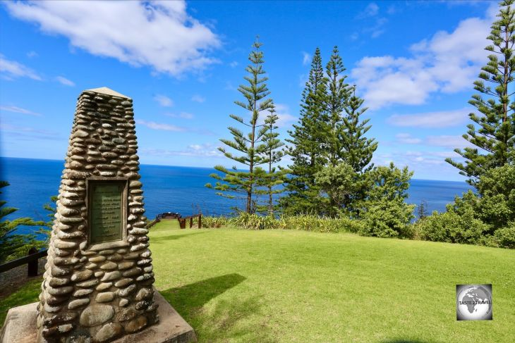The Captain Cook monument and scenic lookout stand at the spot on the northern coast where Captain James Cook and his officers landed in 1774.