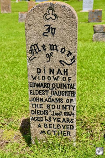 A gravestone in the Kingston cemetery for Dinah Adams, the eldest daughter of John Adams, one of the Bounty mutineers.