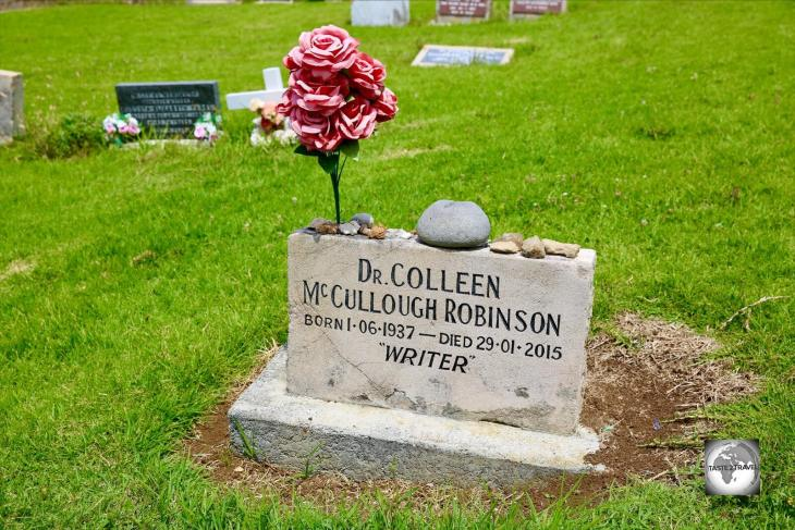 The simple gravesite of Colleen McCullough, a famous Australian author who was a prominent resident of Norfolk Island.