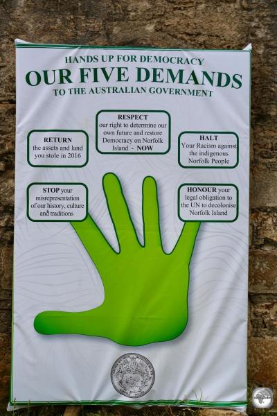 The Five Demands from the Norfolk Island democracy movement.