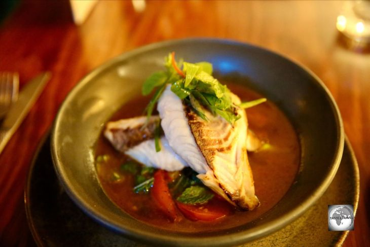 Norfolk Island Trumpeter fish served in a Thai curry sauce at The Homestead restaurant.