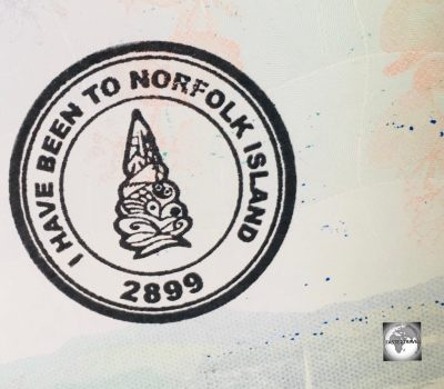 A Norfolk Island souvenir passport stamp, issued by the Norfolk Island Visitors' centre in Burnt Pine.