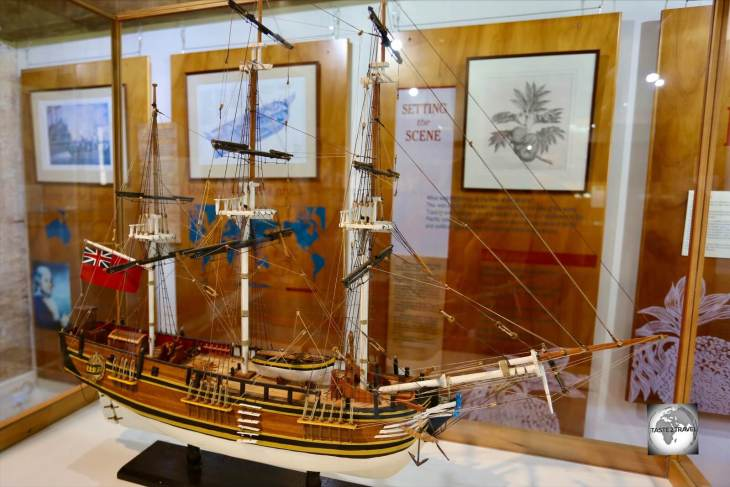 A model of the 'HMS Bounty' at the Norfolk Island museum.