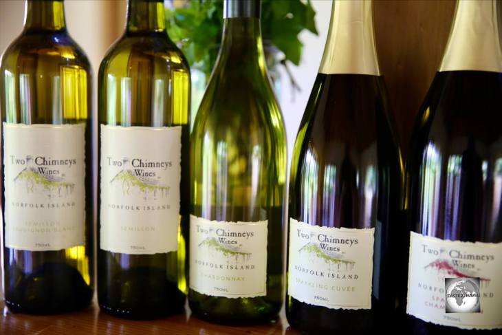A selection of wines from Two Chimneys Wines, the only winery on Norfolk Island.