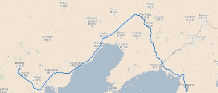 A map of the rail journey from Beijing to Pyongyang.