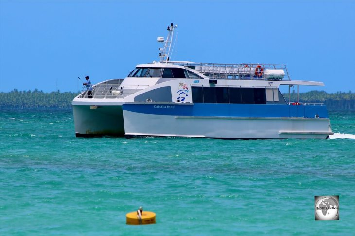 The Cahaya Baru ferry arriving at Home Island.