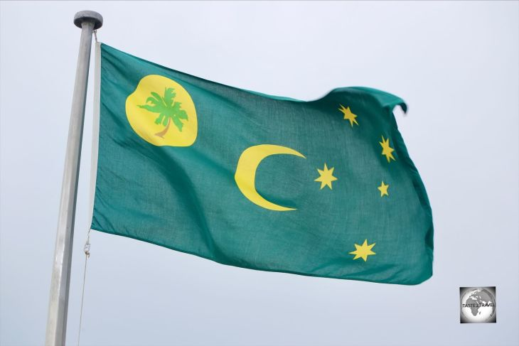 The flag of Cocos (Keeling) Islands flying on Home Island.