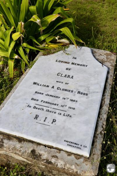 The grave of Clara Clunies-Ross, in the Christian section of the Home Island cemetery.