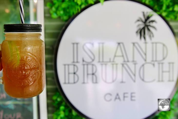 Iced tea at the Island Brunch cafe on Home Island.