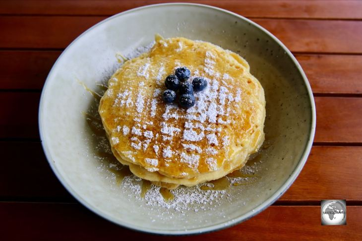 The blueberry pancake stack at <i>Island Brunch cafe</i> on Home Island.