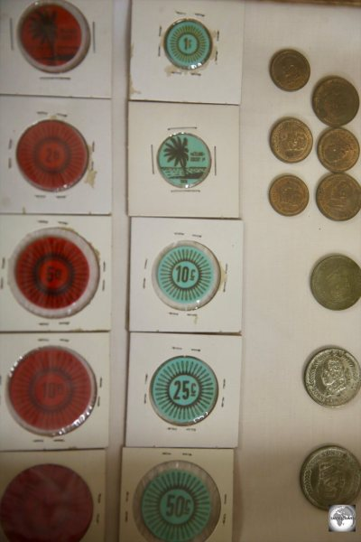 The modern version of the Cocos Rupee was in the form of coloured plastic tokens.