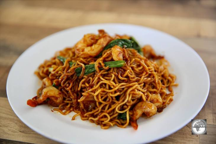 The amazingly tasty, and spicy, shrimp noodles, one of my favourite dishes from the <i>Seafront restaurant</i> on Home Island.