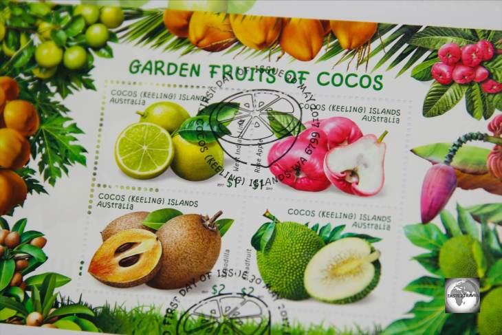 The 'Garden Fruits of Cocos' stamp issue shows four exotic fruits which have been introduced to the islands.