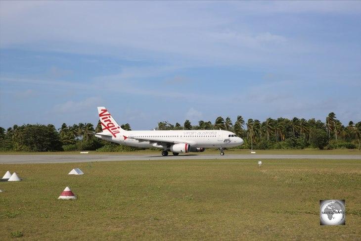 A Virgin Airlines flight arriving on Cocos (Keeling) Islands.