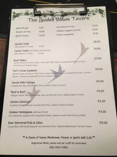 Menu prices on Christmas Island, such as these at the Golden Bosun pub, can be shocking!