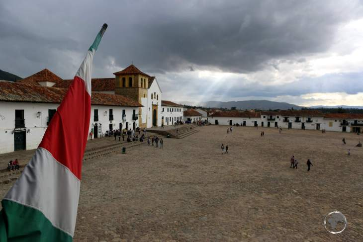 A view of the cobblestoned Plaza Mayor, the main square of Villa de Leyva, which at 14,000 square metres, is the largest square in Colombia.