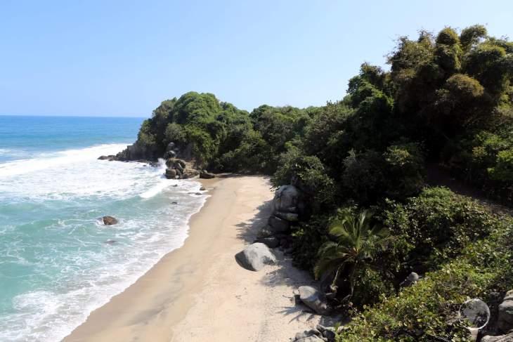 A view of a beach and the Caribbean Sea in the 'Parque Nacional Natural Tayrona' (Tayrona National Natural Park) in northern Colombia.