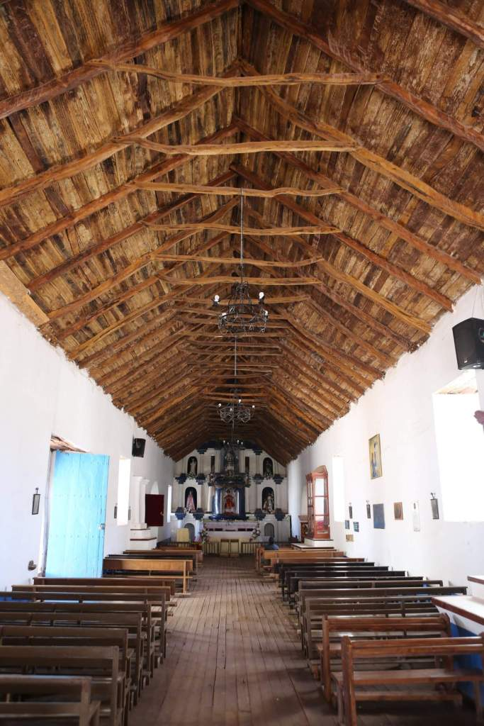 The interior of the Church of San Pedro de Atacama, a Catholic church in San Pedro de Atacama, Chile which was constructed during the Spanish colonial period.