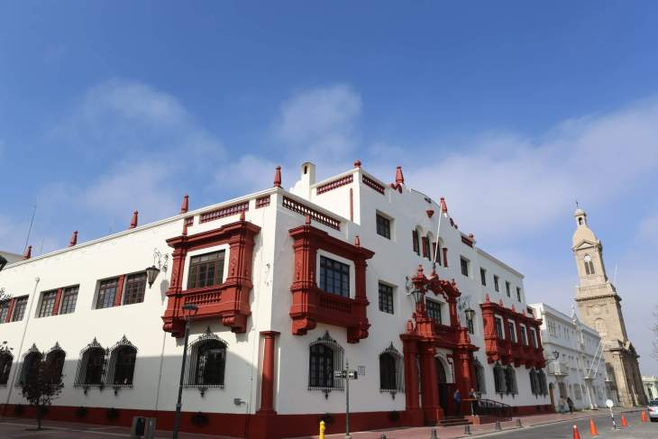 The Courts of Justice building overlooks the main square of La Serena, a port city in northern Chile, which was founded by the Spanish in 1544.
