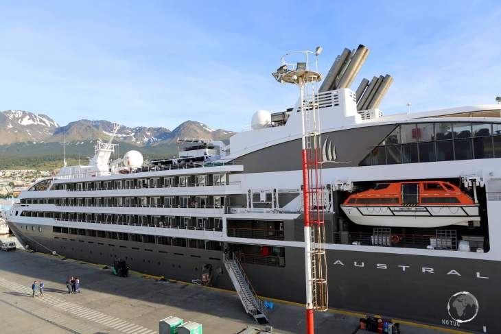 """A view of the Antarctic expedition ship 'MV Austral' at Ushuaia, from Quark Expeditions """"MV Ocean Diamond"""", at the end of my 14-day Antarctica expedition."""