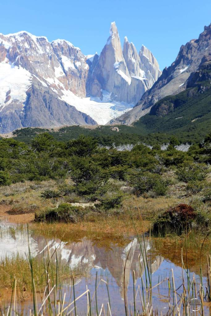 Cerro Torre (3,128 m), reflected in a pond at the Los Glaciares National Park in Patagonia, Argentina.