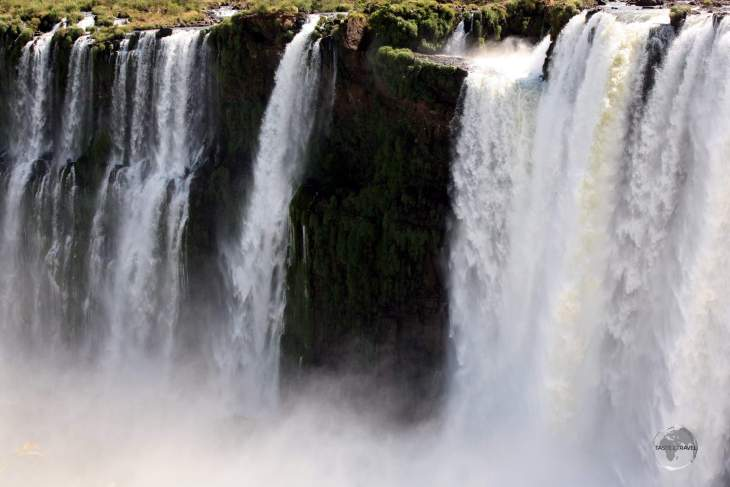 Iguazú Falls consist of a two-step waterfall formed by three layers of basalt.
