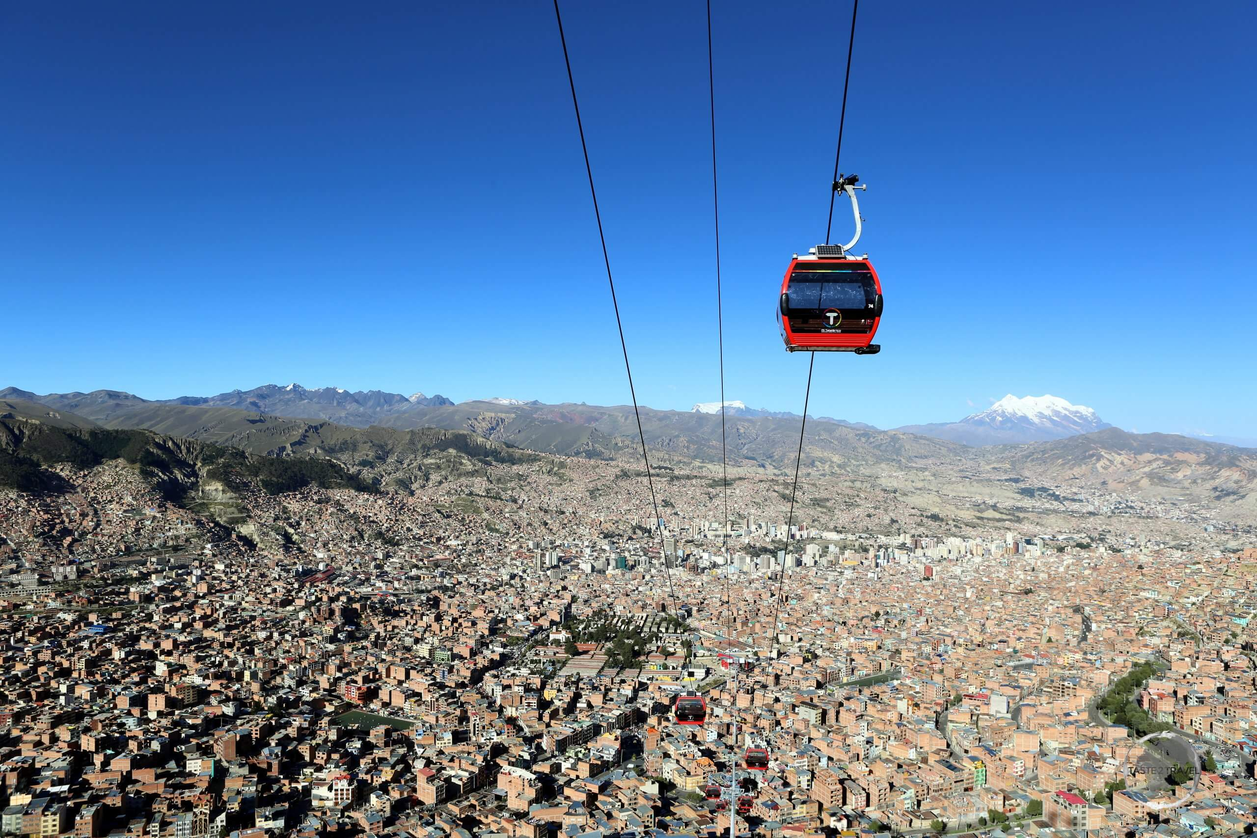 """The world's highest altitude cable car, """"Mi Teleférico"""" or """"My Cable Car"""", is comprised of eight lines which extend for 27 km (17 mi) over La Paz."""
