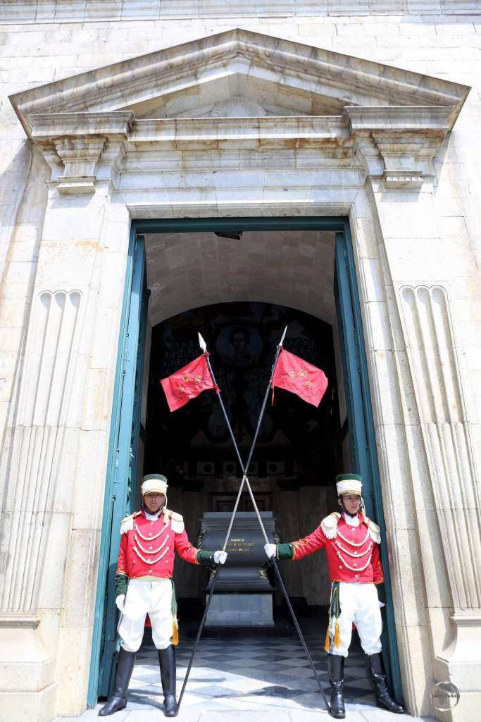 Guards at the main entrance to the Palacio Quemado, the official Palace of Government in La Paz, Bolivia.