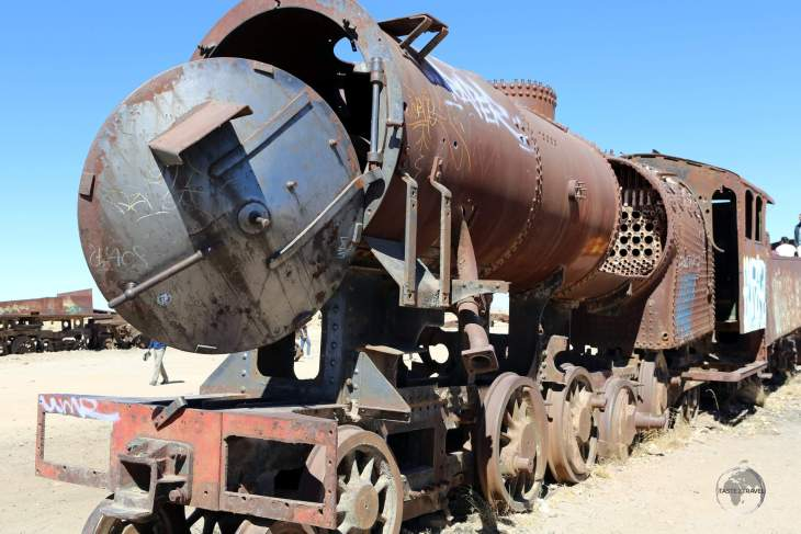 Rusted trains lie in the middle of an isolated desert plain at the 'Cemeterio de Trenes' (Train Cemetery) which is located on the outskirts of Uyuni, Bolivia.