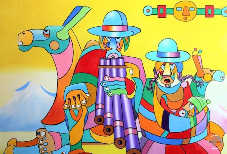 Indigenous artwork in La Paz, Bolivia.