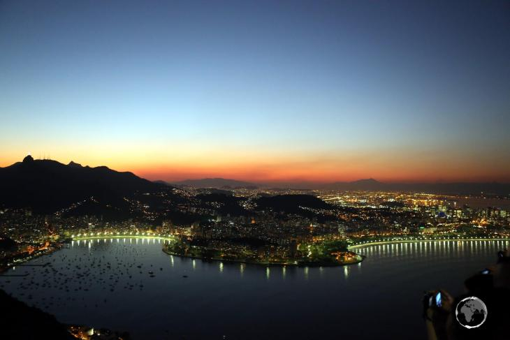 An evening view of Rio de Janeiro from Sugarloaf Mountain.