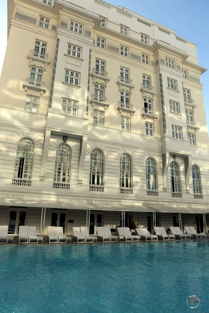 The swimming pool at the Copacabana Palace hotel, which lies on Copacabana beach in Rio de Janeiro.
