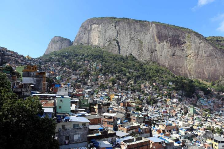 Panoramic view of Rocinha favela, the largest favela in Brazil, located in Rio de Janeiro's South Zone.