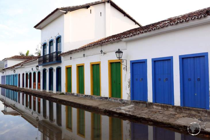 The cobbled streets of Paraty are lined with Portuguese colonial buildings, all of which were built in the 17-18th century, during the Brazilian Gold Rush.