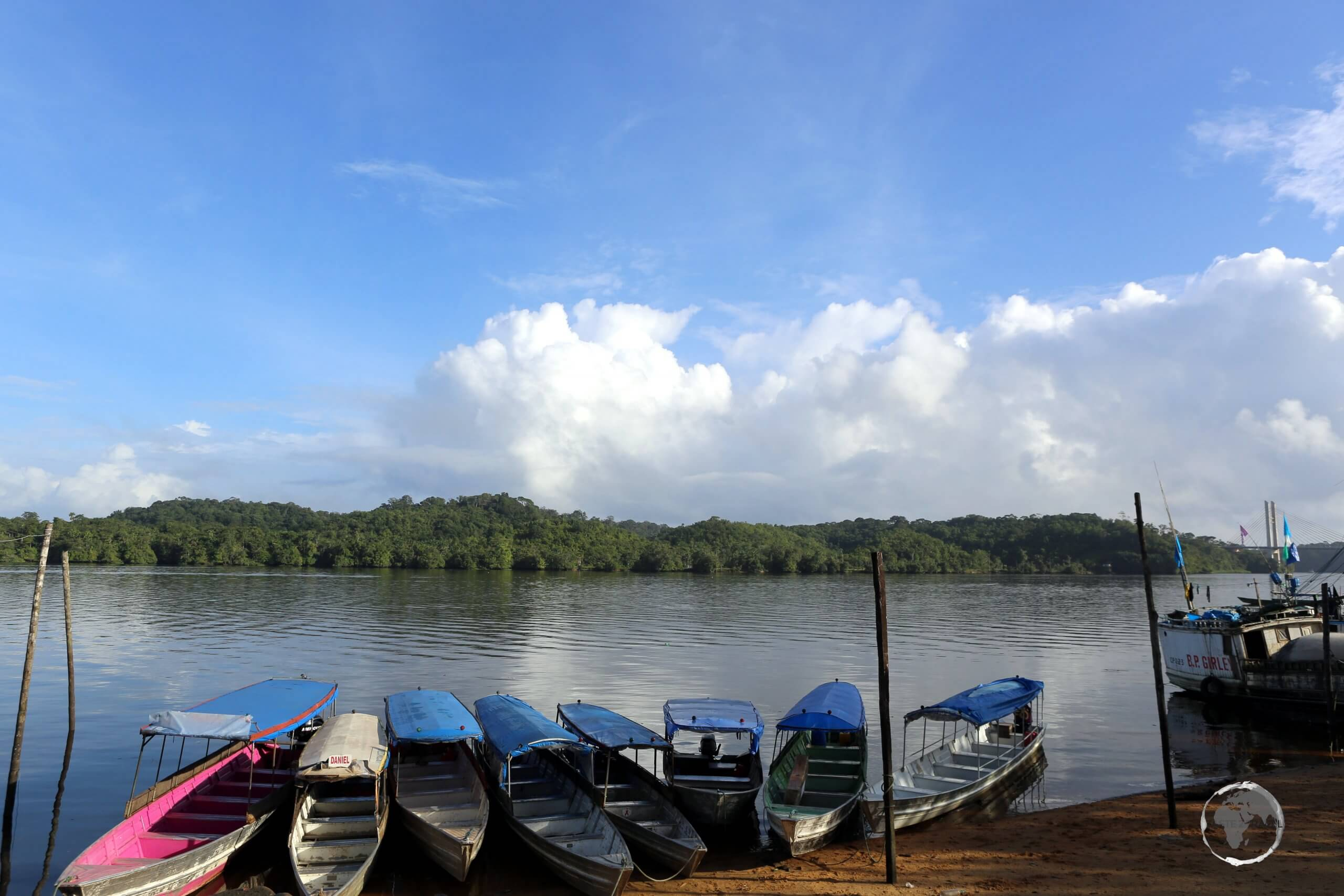 Boats on the Oyapock River, in the Brazilian frontier town of Oiapoque, Amapá state. French Guiana, a territory of France and part of the European Union, lies on the opposite bank.