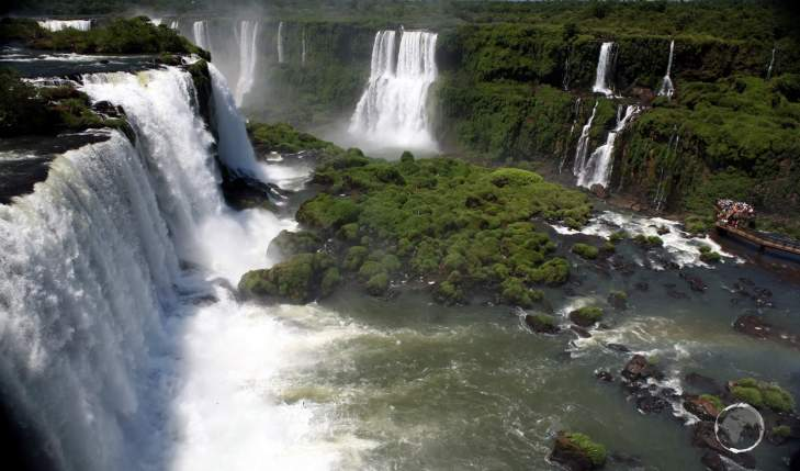 Views of Iguaçu Falls from the Brazilian side of the falls, with Argentina located on the other side of the gorge.