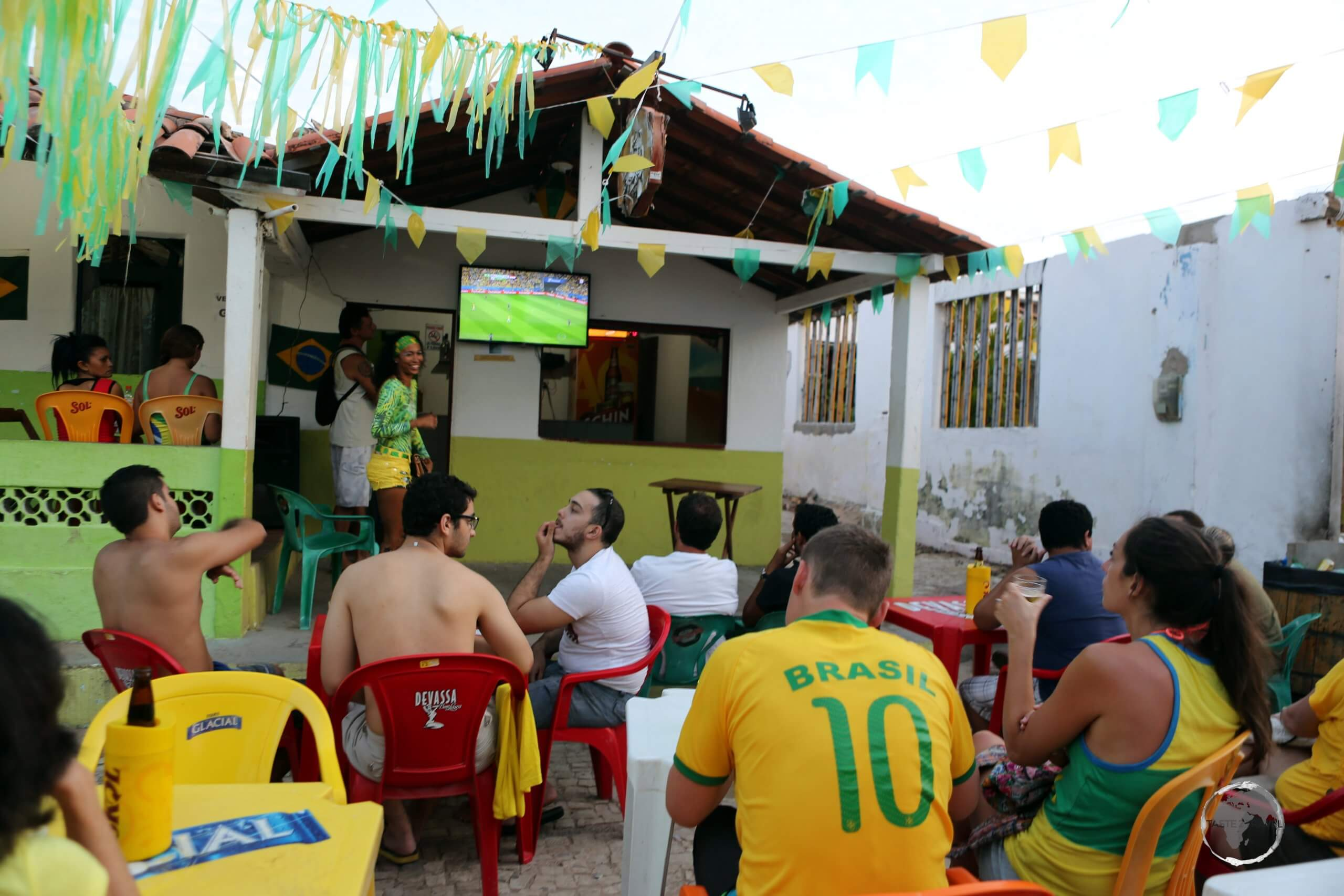 Joining the locals in Canoa Quebrada to watch Brazil play one of their 2016 World Cup games, which was playing in Brazil.