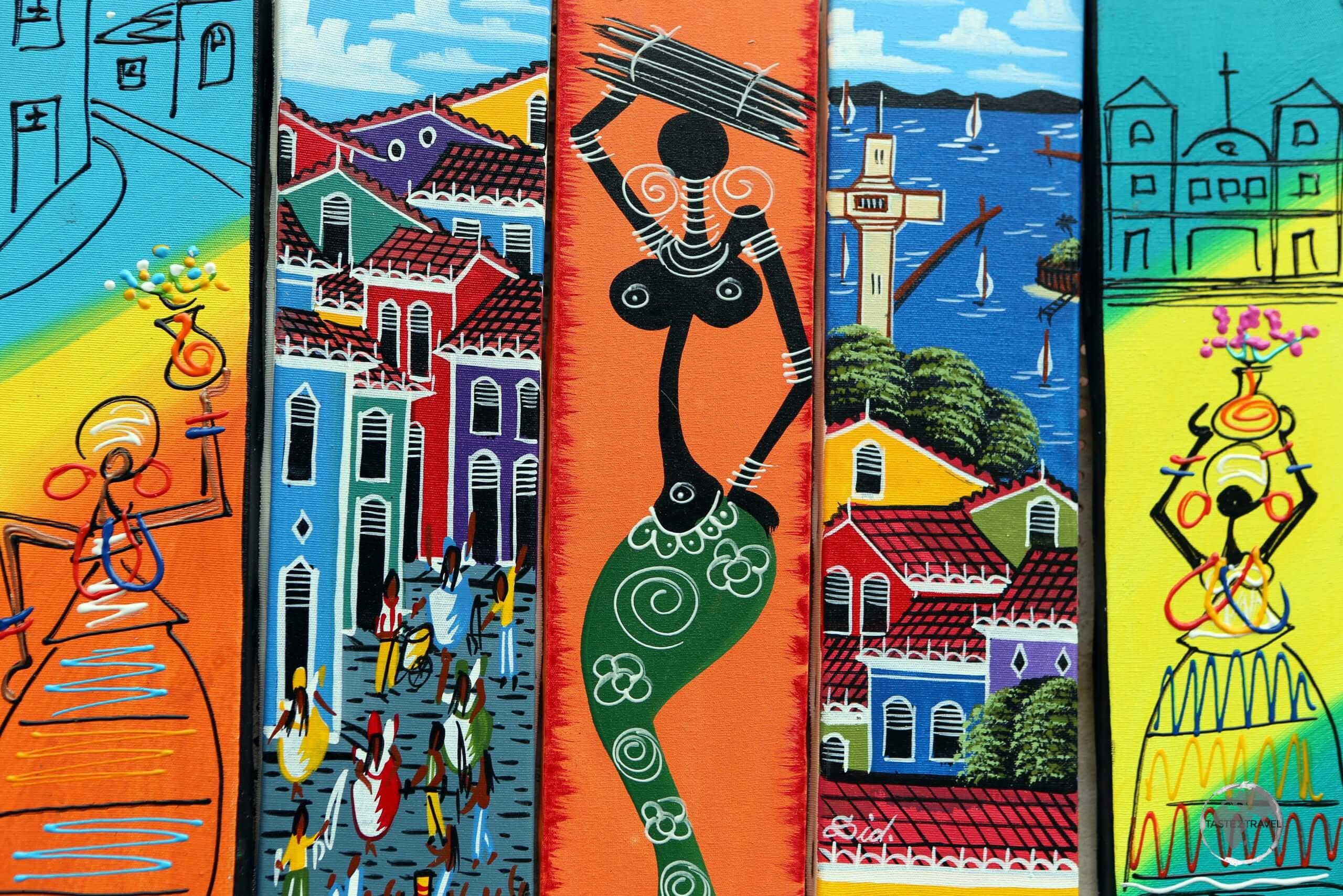 Colourful 'Afro-Brazilian' artwork in Salvador, an important Brazilian cultural centre.