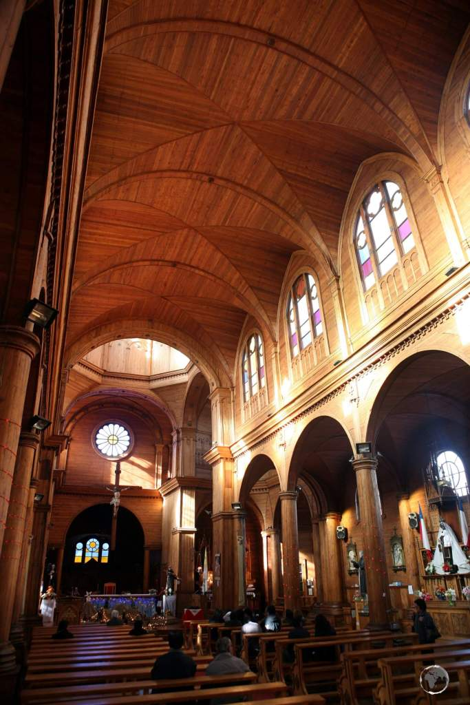 The magnificent ceiling of the Iglesia de San Francisco was constructed from two local varieties of timber, which can only be found in southern Chile.