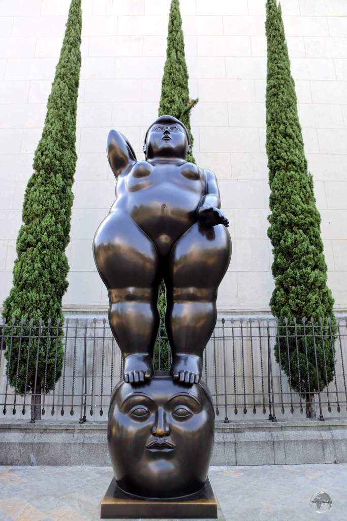 'Pensamiento' (The Thought) is one of many bronze sculptures by Medellin artist Fernando Botero which line Plaza Botero, which fronts the Museum of Antioquia in Medellin.