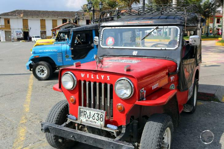 Local tour companies in Salento use Willys Jeeps to take tourists to coffee estates outside of town.