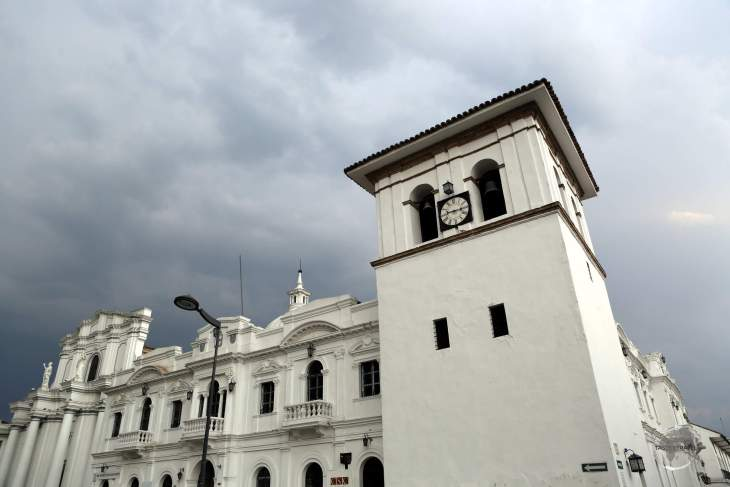 The Cathedral of Our Lady of the Assumption, the main church in Popayán, and the Torre del Reloj (Clock Tower).